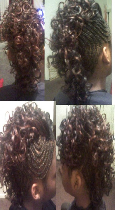 Sew ins w braidscornrow cornrow mohawk with curly hair pmusecretfo Image collections